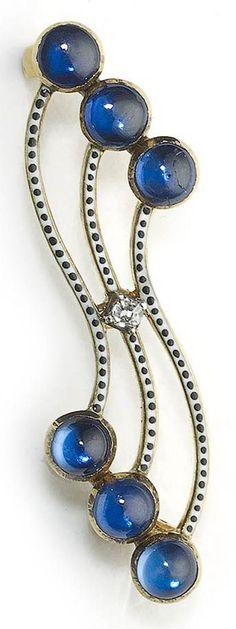 An antique gold, enamel, diamond and sapphire brooch, by Carlo Giuliano, circa…