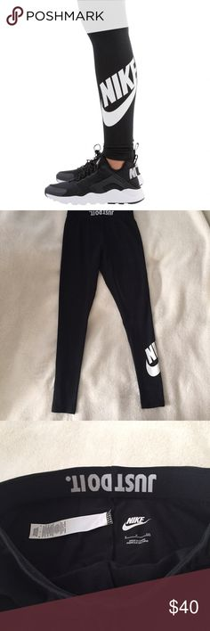 Nike Swoosh Leggings Full length leggings with Nike and Swoosh detailing on the left leg. Has the Just Do It roll down waist band if you choose. Worn once!                  Feel free to make an offer! I'm generous when it comes to bundling, so ask about a bundle price 😊 NO TRADES 🚫 Nike Pants Leggings