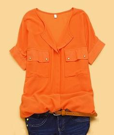 sheer orange, gold buttons