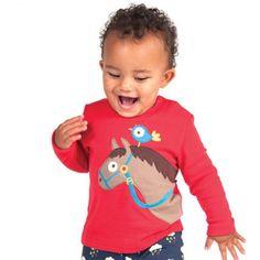 Langarmshirt in Rot und einer großen Pferdekopf-Applikation und  Druckknopfleiste aus Bio-Baumwolle #Babymode #Babyshirt