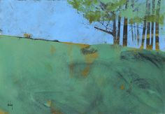 Semi-abstract landscape original painting - Token trees three