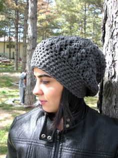 Custom Colors Crochet Hat - Slouch  Hat-  Crochet Beanie Hat  - Womens hat  Charcoal Gray  Beanie  Fall Winter Accessories  Autumn Fashion