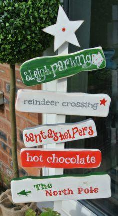 North Pole Christmas sign decoration