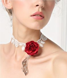 White Lace Choker Necklace with Red Rose & Silver by FairybyFoxie
