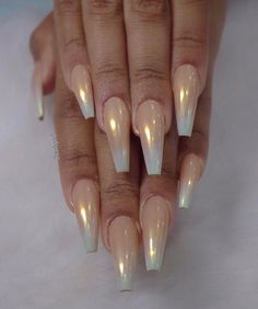 By adding the chrome powder, you can easily turn your acrylic into mirrored chrome nails. Here are some beautiful long chrome nails ideas for you. Pick one and make it now! Get Nails, Fancy Nails, How To Do Nails, Hair And Nails, Matte Nails, Glitter Nails, Acrylic Nails Coffin Ombre, Gold Coffin Nails, Gold Stiletto Nails