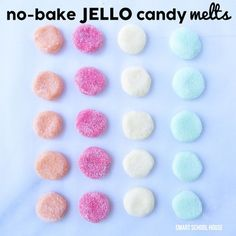 Today's recipe for Jello Candy Melts taste so yummy! These no-bake treats taste like your favorite Jello flavors and then melt in your mouth Jello Candy Recipe, Candy Recipes, Sweet Recipes, Homemade Marshmallows, Homemade Candies, Jello Flavors, Cream Candy, Dots Candy, Cupcakes