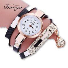 2017 Duoya Watches Women Luxury Gold Women's Bracelet Quartz Wristwatch Ladies Dress Female Leather Vintage Fashion Wristwatch