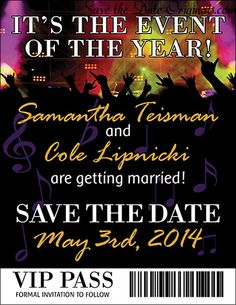 Save the date magnet for a music concert feel #wedding
