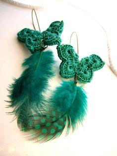 butterfly earrings with wings