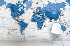 Our Blue and White Tone World Map Wall Mural is a simple, fresh, yet vibrant wall mural design that is perfect for those of you looking for a feature wall that is full of minute detail and stark color contrasts. Perfect for any room of the home, from the study to the children's bedroom our Blue and White World Map Murawall will make an amazing addition and impact on your interior décor.