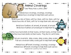 "Song, ""Animal Coverings"" from Cross Curricular Unit on What & How Animals Eat, Animal Coverings & How Animals Move (free; from First Grade Wow)"