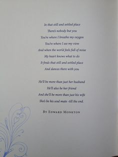 wedding reading - poem  Simple and beautiful !