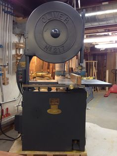 clarkatron:  Done and done- Oliver 217-D bandsaw, built in 1942 in Grand Rapids, Michigan and commissioned by Douglas Aircraft Corporation in Santa Monica, California. Here's to another seventy-three years of use.