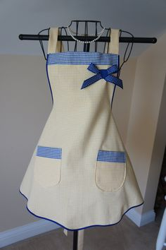 Yellow and Navy Blue Check Apron