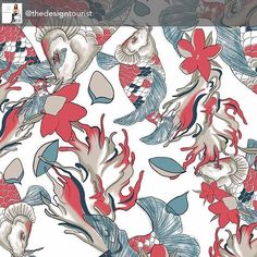 #SneakPeek @surtexshow @javitscenter Kaleidotex @kaleidotex a print studio based in Spain designs patterns for fashion, homeware, bed and bath, paper and stationary goods and tabletop. Karen LeBlanc @thedesigntourist loves the exotic Koi fish print in coral and blues - on trend color palette and eyecatching motif.  #admNewYorkArtCrawl #admSupportsTheArts #designerprints #designerfabric #fashion #couture #instafashion #designerwear #originalart #surtex #art #artist #nature #style #instagood…
