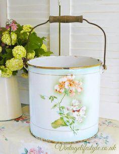 Rare antique French enamel bucket with delicate Pelargonium design