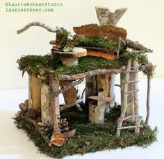 Artist Loft Woodland Fairy House Custom Sculpted Nature Art - Laurie Rohner Studio
