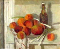 """Frutas rojas sobre fondo blanco"" Óleo sobre lienzo, 46 x 55 cm."