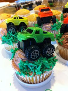 party favor cupcakes with truck on top perhaps? U know I'll bake em ;) Henry's Monster truck birthday party