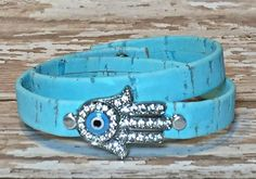 Hamsa Hand & Evil Eye Turquoise Cork Double Wrap Bracelet | Designs by Jen, Beaded Wrap Bracelets, Leather Bracelets