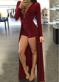 Wine Red Lace Up Maxi Overlay Romper on sale only US$23.64 now, buy cheap Wine Red Lace Up Maxi Overlay Romper at modlily.com