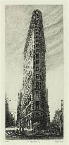 Title  The Flatiron Building  Artist  Takuji Kubo  Year  2003  Process  Etching/engraving  Size  29x13cm