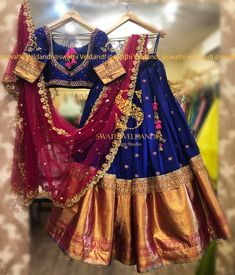 Stunning gorgeous and beautiful blue color lehenga and blouse with maroon color dupatta. Lehenga with big gold jari boarder. Blouse with hand embroidery kunda work. 27 May 2019 Lehenga Saree Design, Half Saree Lehenga, Lehenga Designs, Sari, Indian Bridal Sarees, Indian Lehenga, Bridal Dupatta, Rajasthani Lehenga, Wedding Saree Blouse Designs