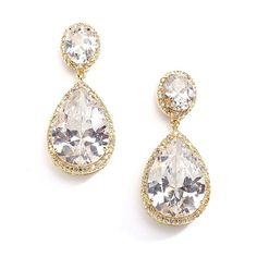 CZ teardrop earrings with pave detailing  18k gold by CremeDeLuxe, $75.00