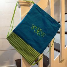 **** Drawstring Bag with Aqua Canvas/Broadcloth and Lime Green Ginghamt Bottom and 3 Letter Signet Monogram ***  Not only is this drawstring