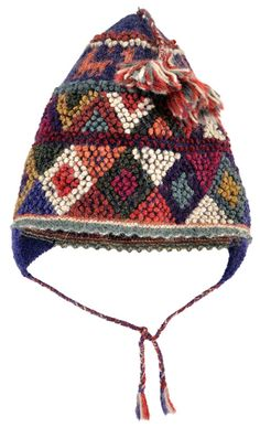Peruvian Handknit Bobble Hats for Adults. These Peruvian hats, or ch'ullo, are masterful handknits from the village members of  The Center for Traditional Textiles of Cusco (CTTC) in Peru. The hats are made of fine-gauge, naturally-dyed alpaca with exquisite designs composed of knitted bobbles. $68.00 || ClothRoads