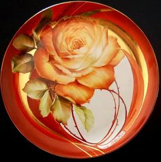 Artist:  Ester Bastista. How beautifully designed with the placement of the rose, and the wonderful elements of luster and gold. Love this piece, And the artist! Porcelain Ceramics, Ceramic Plates, China Porcelain, Painted Porcelain, Rose Decor, Happy Paintings, China Plates, China Painting, Luster