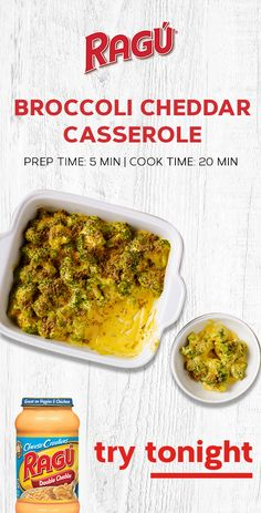 This Thanksgiving side dish makes your veggies cheesy, crispy and delicious with the addition of bread crumbs and RAGÚ® Double Cheddar Sauce. Broccoli Recipes, Veggie Recipes, New Recipes, Crockpot Recipes, Recipies, Cooking Recipes, Casserole Dishes, Casserole Recipes, Tasty Dishes