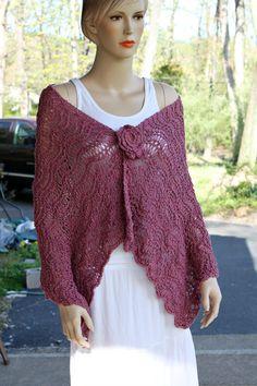 Blush Knitting Shawl by CasadeAngelaCrochet on Etsy, $69.00