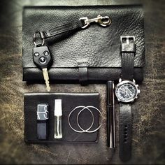 "Essentials for every day. Bas and Lokes unisex black handmade leather clutch bag, watch strap and wallet from our ""New Black"" collection available at www.BasAndLokes.com now"