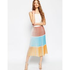 ASOS Pleated Column Skirt in Colourblock ($61) ❤ liked on Polyvore featuring skirts, multi, chiffon midi skirt, asos skirts, white pleated skirt, white chiffon skirt and mid calf skirts