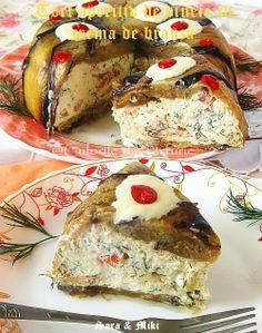 Aubergine Gâteau apéritif aveC Fromage à la crème ~ couleurs de la plaque