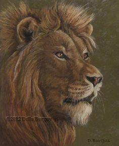 Wildlife Art African Lion Pastel by Della Burgus, painting by artist Art Helping Animals
