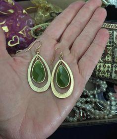 Lime Green Dangle Earrings 1990s Gold and Green Earrings