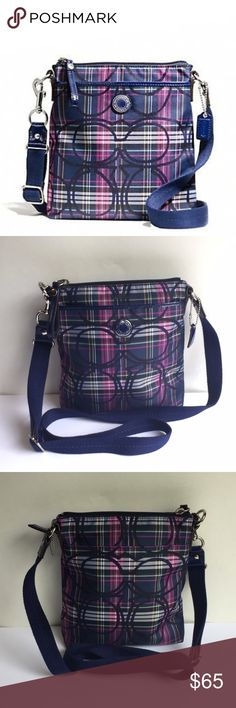Coach SIS Tartan Swingpack Crossbody Bag In perfect condition like new has a plaid like pattern with beautiful signature cc pattern all through the bag handle is adjustable on one side includes coach tag inside is like new with one pocket, also has two outside pockets which are clean as well only has unnoticeable signs of wear on handles end and bottom edge corners like all bags 0167813456 Coach Bags Crossbody Bags