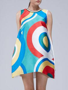 Multicolor Sleeveless Polyester Mini Dress