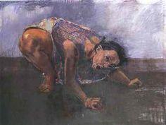 paula-rego-m-cao -      Paula Rego            Nasceu em 1935 em Lisboa. Partiu em 1954 para Londres, para frequentar a Slade School of Art. Casou com um inglês e ficou em Inglaterra, onde reside desde 1976.            Vem regularmente a Portugal, onde expõe com frequência. Mulher Cão – 1994, encontra-se na Tate Gallery, Londres