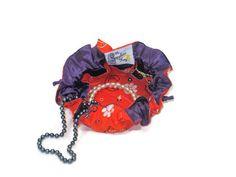 Drawstring Jewelry Pouch / Satchel - Medium - Clemson with Purple Satin Lining #travel #jewelry #clemson