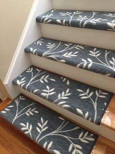 Arbor Vine Denim (and Other Colors) True Bullnose™ Padded Carpet Stair Tread – For Safety Comfort Dog Cat Pet (Sold Each) – carpet stairs Best Carpet, Diy Carpet, Wall Carpet, Carpet Ideas, Carpet Staircase, Carpet Stair Treads, Hallway Carpet Runners, Cheap Carpet Runners, Stair Runners