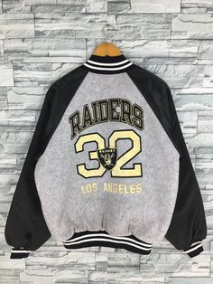 ac578edc8 OAKLAND RAIDERS Varsity Jacket Large Vintage 90 s Nfl Team American Football  Rugby Raiders Hip Hop Buttons Gray Bomber Jacket Size L