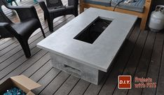 Learn how to make an outdoor gas fireplace. Detailed Video tutorial, photos, and plans.This is a high end looking fireplace made out of concrete! Outdoor Fire Table, Outdoor Gas Fireplace, Diy Fireplace, Diy Gas Fire Pit, Gas Fire Pit Table, Fire Pits, Backyard Pergola, Diy Patio, Patio Ideas