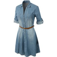 LE3NO Womens Casual Chambray Denim Flared Shirt Dress ($38) ❤ liked on Polyvore featuring dresses, flared dress, loose fitting dresses, denim shirt-dress, chambray shirt dress and shirt-dress