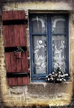 Mortain, Marche, France (lace curtains can be good) French Windows, Windows And Doors, Rustic Windows, But Is It Art, Lace Curtains, Window Curtains, Window View, Lace Window, Through The Window