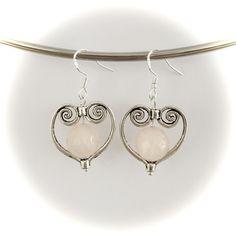 Handmade rose quartz heart pendant earrings made with sterling silver hooks Pendant Earrings, Heart Earrings, Gemstone Earrings, Drop Earrings, Handmade Silver, Handmade Items, Rose Quartz Heart, Hooks, Gemstones