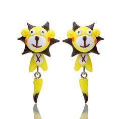 Yellow Lion Clay Stud Earrings