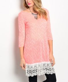 Another great find on #zulily! Neon Coral & Ivory Shift Top #zulilyfinds
